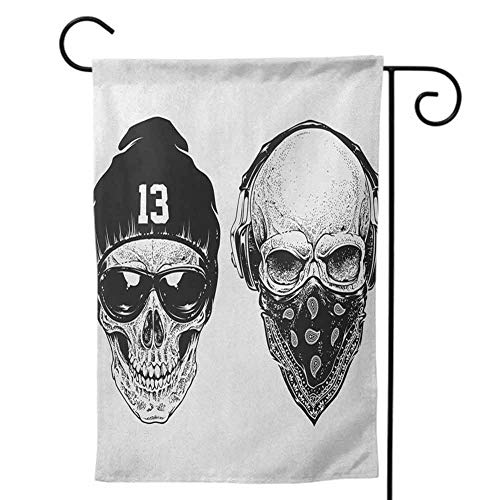 Mannwarehouse Holiday Flag, Nice Thick Fabric Double Sided Colorful Design for Home Skull Funny Skull Band Dead Street Gangs with Bandanna Hood Rapper Style Grunge Print Black White28 x40 inch