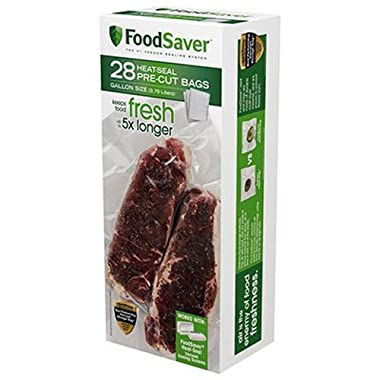 FoodSaver 1-Gallon Pre-Cut Vacuum Seal Bags with BPA-Free Multi-Layer Construction for Food Preservation & Sous Vide Cooking, 28 Count