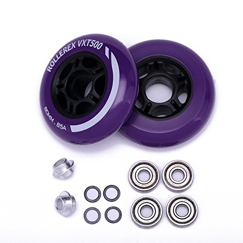 Rollerex VXT500 Inline Skate Wheels (2-Pack w/Bearings, spacers and washers) (Royal Purple, 80mm)