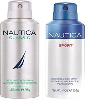 Nautica Classic and Voyage Sport Deodorizing Body Spray for Him (Pack of 2)
