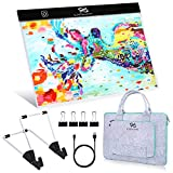 PP OPOUNT Diamond Painting B4 LED Light Pad Set Include B4 LED Light Tablet Pad, 15 Inch Polyester Felt Hand Held Case Bag and Stand Holder for DIY Art Craft Diamond Painting Sketching