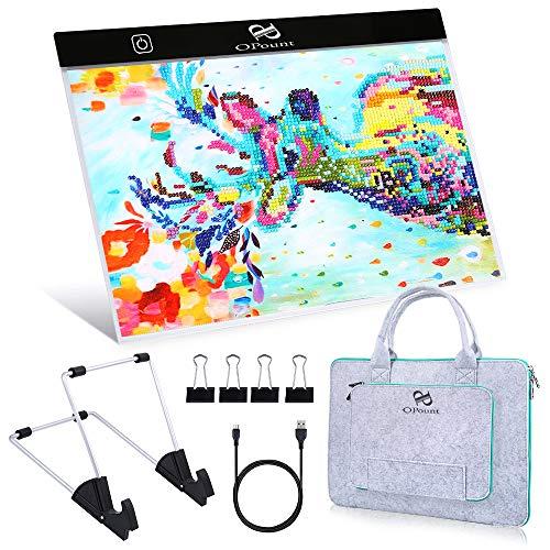PP OPOUNT diamante pintura light Pad Set incluyen B4 LED light Tablet Pad, 15 pulgadas poliéster fieltro mano sostiene pie bolsa de la caja y soporte para el arte DIY arte diamante pintura esbozado