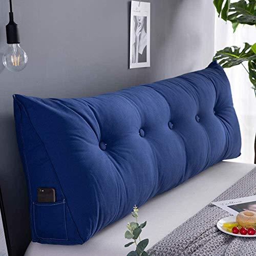 Rückenkissen, Bett-Rückenstütze Keilform, Rückenstützkissen, Für Bett & Sofa, 100 cm Breit, Ideal Für 2 Personen, Praktisches Seitenfach, Bezug Waschbar