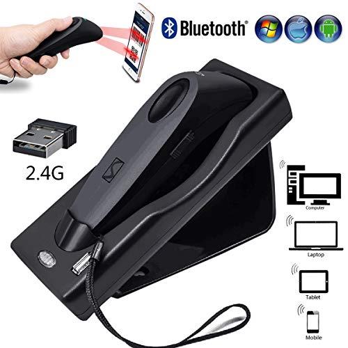 Scanner Code Barre Bluetooth Automatique 1D & 2D, Pistolet à balayage de bureau QR USB, Lecteurs de Codes à Barres Haute Vitesse, pour Magasin Supermarché Magasin Logistique Magasin de Détail