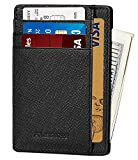 ALBRINT Rfid Minimalist Leather Wallets for Men and Women Front Pocket Wallets Slim Card Holder (Black D01)