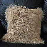 Seek4comfortable Mongolian Lamb Fur Throw Pillow Cover  Real Fur Decorative Cushion Cover Pillow Case Home Decorative Square Throw Pillow Cover Plain Wool Pillow Protector, Khaki (18'x18')