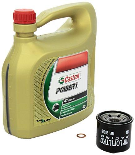 Castrol Power1 (10W-40) Ölwechsel-Set  GSX 1250 F ABS, Bj. 10-13 - Motoröl, HiFlo Racing Ölfilter und Dichtring