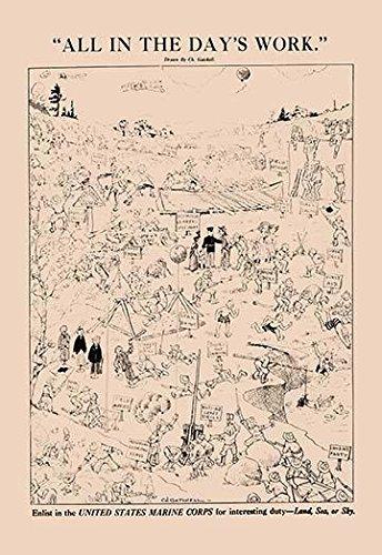 Für interessante Pflicht ist der Punkt dieses geschäftigen Recruiting-Posters, Szenen des täglichen Lebens eines Schiffes mit Schiffsfluß, Posterdruck von Charles Gatchell (61 x 91 cm)