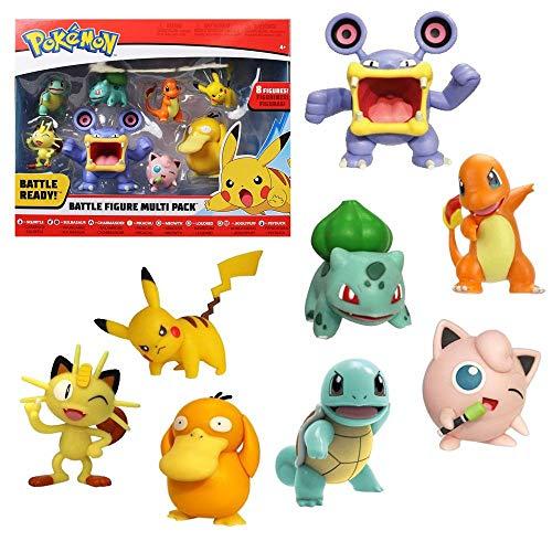 PoKéMoN 35875 Battle Multi Pack Wave 3 mit 8 Figuren-Pikachu, Schiggy, Bisasam, Glumanda, Mauzi, Krakeelo, Pummeluff und Enton, für Kinder ab 4 Jahre, Bunt