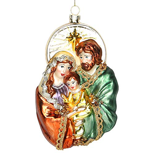2021 Blown Glass Christmas Ornament, Scenes of Mary, Joseph and Baby Jesus Hanging Christmas Ornaments, 6.5 Inches Holy Family Xmas Tree Decoration