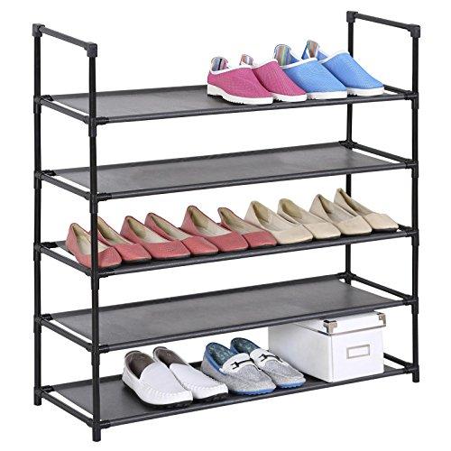 IDIMEX Schuhregal Stoffregal Kellerregal l Willy, 5 Böden im einfachen Stecksystem, genügend Platz für ca. 20 Paar Schuhe, in der Farbe schwarz