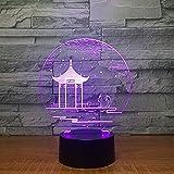 3D Lampe Nachttischlampe Antiker Pavillon Nachtlicht Fürs Kinderzimmer, Led Lampe Fürs Wohnzimmer Perfekte Geschenke Für Kinder