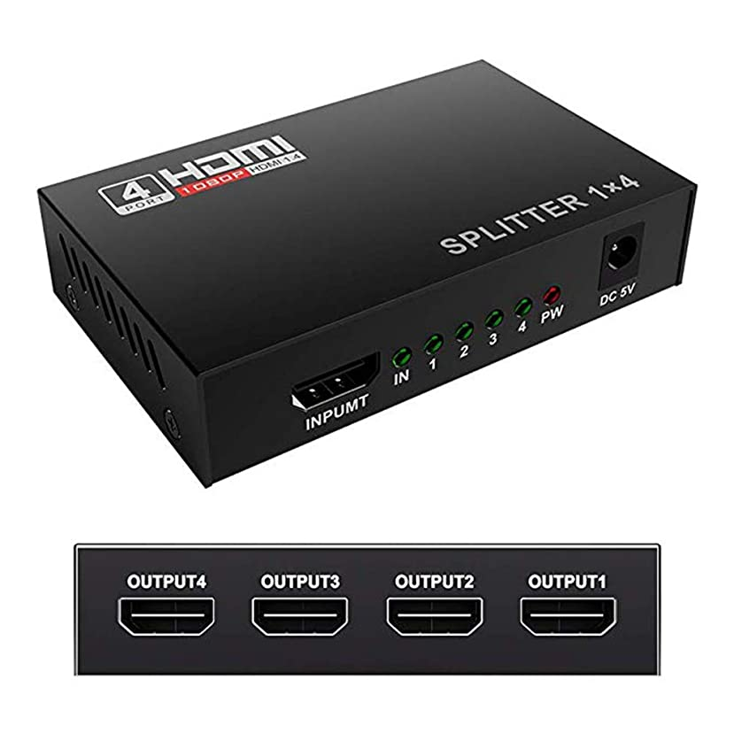 YXTHON HDMI Splitter 1 in 4 Out V1.4 Powered 1x4 Ports Box Supports 4K 1080P 3D Compatible for PC Laptop, Xbox 360 One, PS4 PS3, Nintendo Switch, Blu-ray Playe