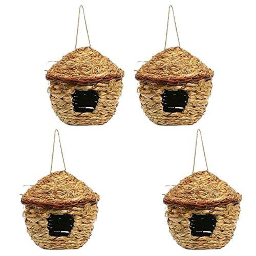 Sharplace 4 Stück Vintage Vogelhäuschen Grashaus, Gewebt Nest, aus Gras, zum aufhängen