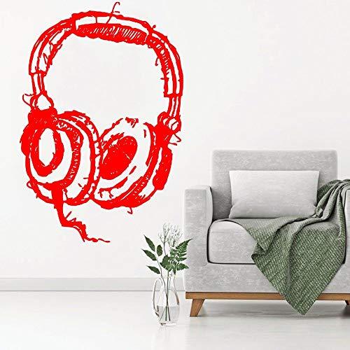 DIY Dj koptelefoon luisteren kunst muur sticker abstracte muziek koptelefoon studio muurstickers home fashion decoratie behang 63x94.5cm
