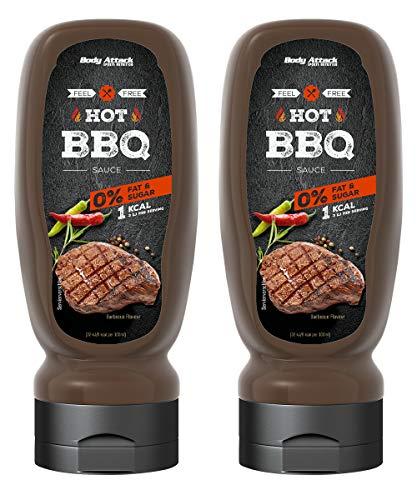 Body Attack Grill Sauce Hot BBQ 2x 320ml / 2x 32 Portionen, vegane kalorienarme Sauce, perfekt für Grillgut, wenig Fett & Zucker, laktosefrei, ideal zum Kochen, für Diätphasen, Made in Germany