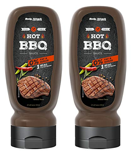 Body Attack Grill Sauce - Vegan und Low Carb 2 x 320ml (Hot BBQ)
