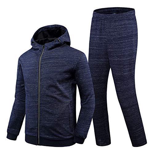 Jtoony Fitness-Bekleidungssets für Herren Mens Gym Zip Hoodie Running Fitness Kapuzenpullover Reißverschluss Sport Anzug (Color : Blue, Size : XXL)
