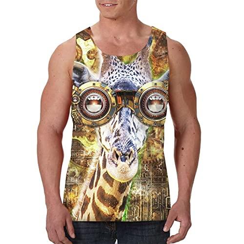 Canotta da uomo estate senza maniche t-shirt top tees - Steampunk occhiali Giraffe Steam Punk, Nero , XXL
