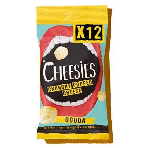 CHEESIES - Knuspriger Käse Snack. 100% Käse. Keto, Ohne Kohlenhydrate, mit hohem Proteingehalt, glutenfrei, vegetarisch. High Protein, No Carb. 12 x 20g Packungen - Geschmack: GOUDA