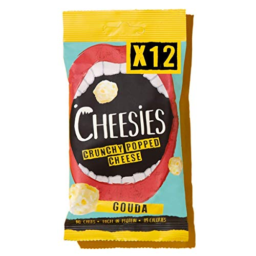 Cheesies Crunchy Popped Cheese Snack, Gouda. No Carb, High Protein, Gluten Free, Vegetarian, Keto. Cheesies Snacks Multipacks. Gouda 12 x 20g Bags