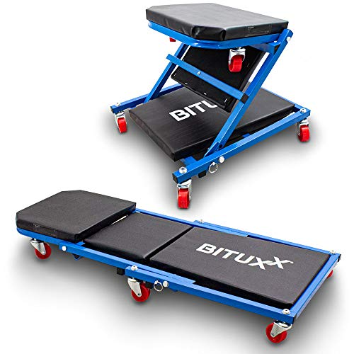 BITUXX® Werkstatt-Rollbrett Werkstattliege Montageliege Montagerollbrett Sitz als Liege oder Werkstatthocker/Klappsitz verwendbar