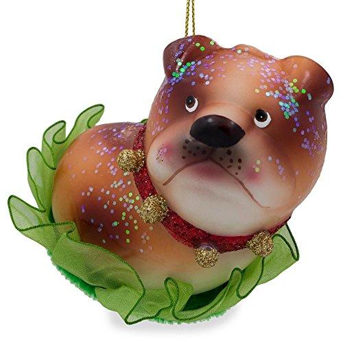BestPysanky Bulldog Puppy Glass Christmas Ornament 3.5 Inches