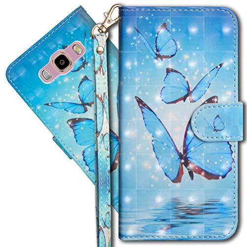MRSTER J2 Prime Handytasche, Leder Schutzhülle Brieftasche Hülle Flip Hülle 3D Muster Cover mit Kartenfach Magnet Tasche Handyhüllen für Samsung Galaxy Grand Prime G530. YX 3D - Butterfly Spring