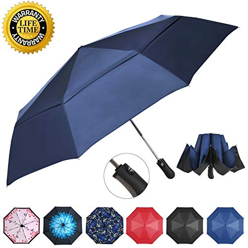 Prodigen Inverted Folding Umbrella Travel Umbrella Windproof Compact Umbrella Inside Out Umbrella Reversible Reverse Umbrella Automatic Open and Close Umbrella for Woman & Man UV Sun & Rain (Blue)