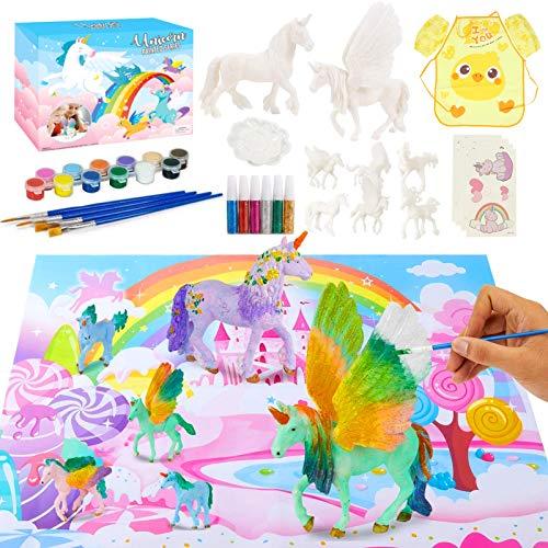 Unicornio Figuras Pintar,Unicornio Juguete,Unicornio para Pintar DIY Kit,Pintar Unicornio Pinceles Colores,Kits de Pintura de Unicornio para Niños Pintar,Pintura Niños Kit,Manualidades Niños