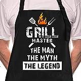 Rosoz Funny BBQ Black Chef Aprons for Men, Grill Master, Adjustable...