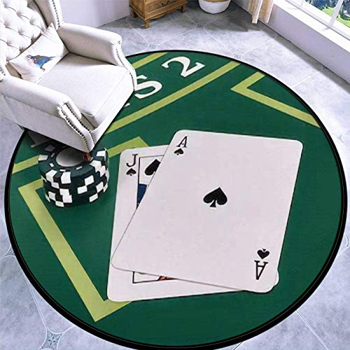 60CM Runder Teppich Teppich Spielmatte Rutschfester Teppich Nahaufnahme eines Blackjack-Tisches mit Karten und Ziegeln 3D-Render-Bodenteppich-Türmatte
