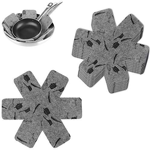 Femongy kastrull- och stekpannskydd, uppsättning med 8 tryck halkfria dynor för pannor, staplade kastruller och kokkärna, anti-skållning grytskiljningsskydd dyna för krukor och kokkärl, 38 cm (grå)