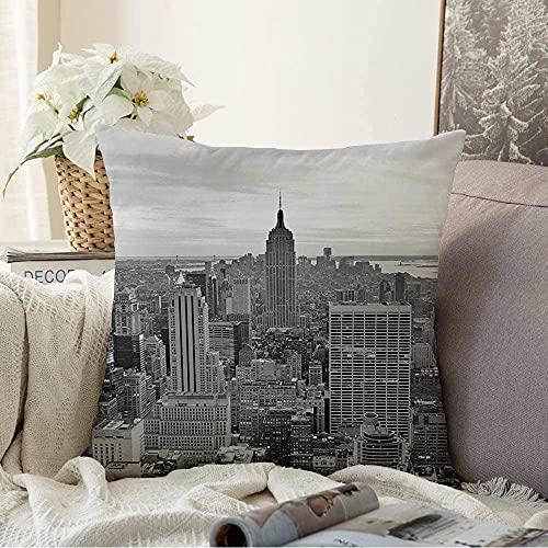 BONRI Almohada decorativa de Nueva York en el tejado de Nueva York para 19 años Landmarks Parks World Twilight Panoramic Outdoor Square acogedora funda de cojín para sofá, 50,8 x 50,8 cm