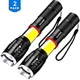 2 Pack Led Cree Torch, Vockvic Tactical Flashlight Super Bright 1000 Lumen COB