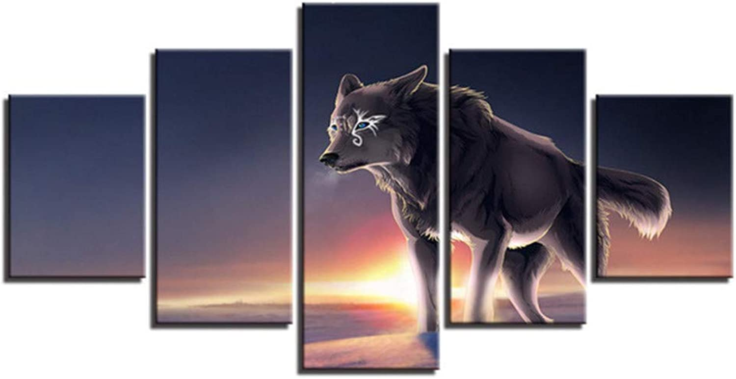 Loiazh  Image Printed On Non Woven Canvas  Wall Art Print Picture  Photo  5 Pieces  Frameless  Wolf King 55x22 45x20x2 35x20x2(cm)
