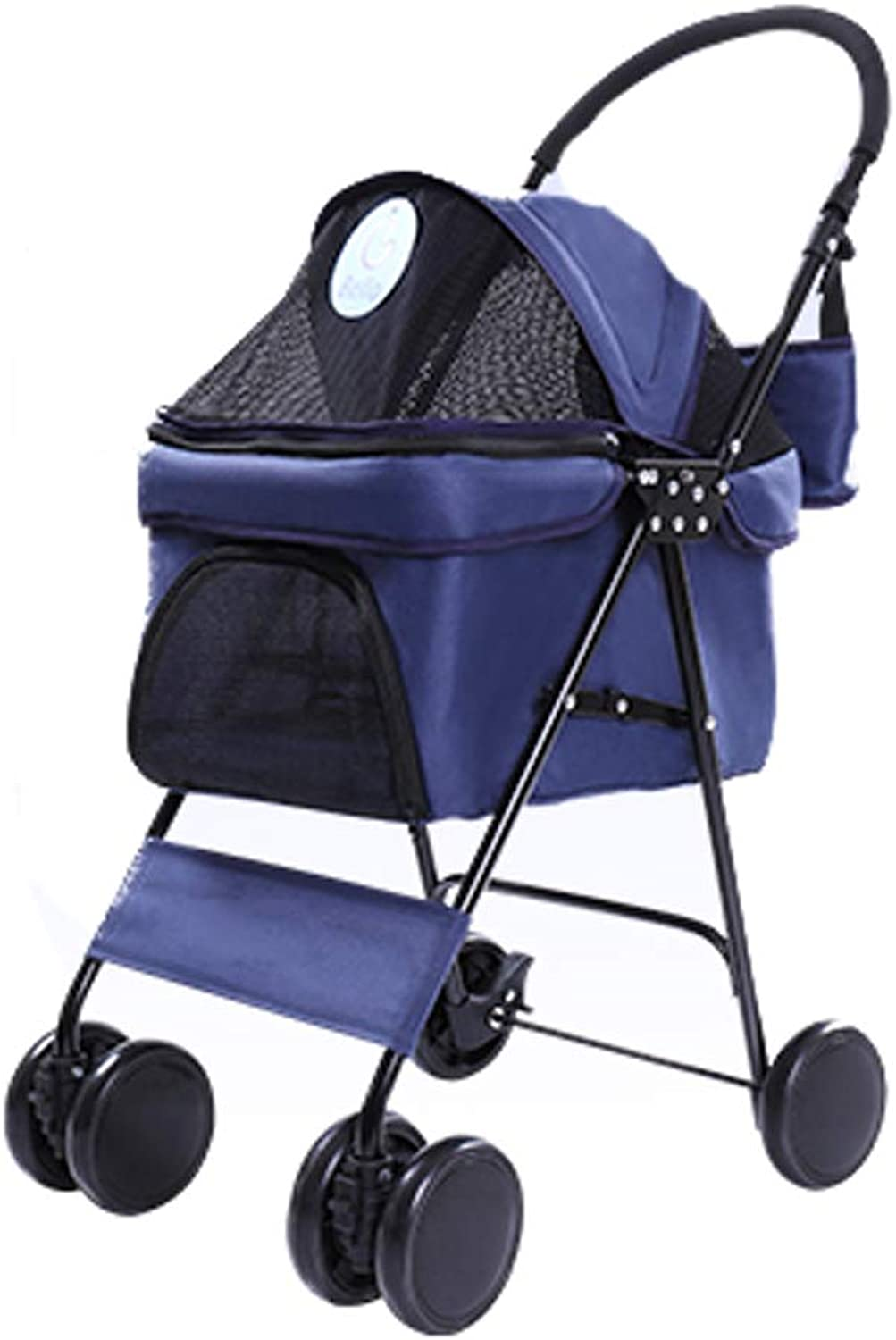 Lihuaa Pet Stroller Disabled Pet Car Ageing Pet Car Light Folding Pet Stroller Dog Cat Teddy Small Delicate Fourwheeled Car Travel Supplies (color   bluee)