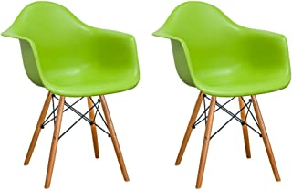Mod Made Mid Century Modern Paris Tower Dining Arm Chair Wood Leg, Green, Set of 2