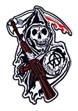 Graphic Dust Grim Reaper Sons of Anarchy Iron On Embroidered Patch Halloween Skeleton Ghost Death Biker Badge Black Cross Symbol Motorcycle Racing Jacket Backpack Heavy Metal Car Flames Fire Red Cross