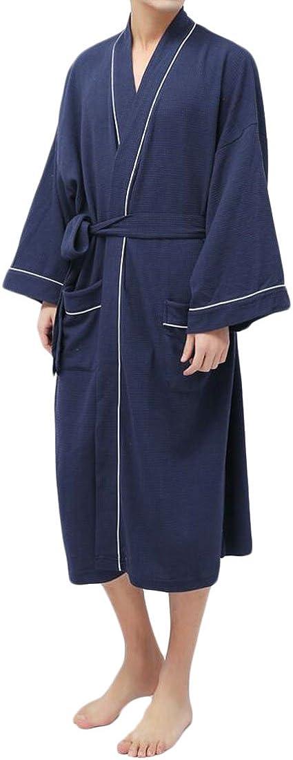 XTX Men's Spa Bathrobe Cotton Lounge Wear Knitted Hotel Robe Sleepwear Navy Blue OS