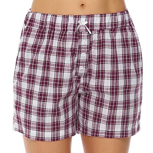 Hawiton Damen Schlafanzughose Karierte Pyjama Hose Nachtwäsche aus Baumwolle, Weinrot, Gr.- XL