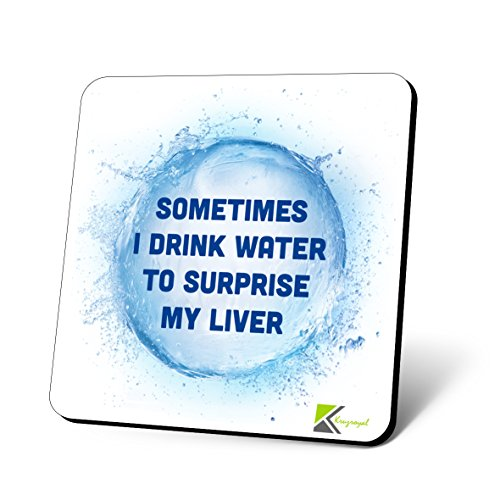 cs728Manchmal I Drink Wasser zu überraschen My Leber Neuheit Funny Kaffee Tee Getränk Geschenk glänzend MDF Untersetzer aus Holz