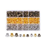 PH PandaHall 約840個/箱 3種 鉄製 花状 チベット風 ビーズキャップ スペーサービーズ チベットスタイル アクセサリーパーツ DIY用 ジュエリー用 ヨーロ 混合色