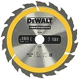 Dewalt DT1933-QZ DT1933-QZ-Hoja para Sierra Circular portátil para construcción 165x20mm 18D ATB +20º, 0 W, 0 V