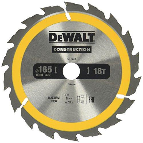 Dewalt Bau-Kreissägeblatt für Handkreissägen (165/20, 18WZ, für schnelle Schnitte, 1 Stück) DT1933-QZ