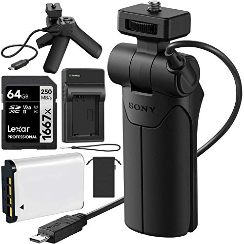 Sony VCT-SGR1 Shooting Grip Camera Tripod for One Handed Vlogging Video Shoots Adjustable Angles Creative and Stable Selfie Bundle w/Lexar 64GB Card + GBX Battery and Charger Compatible with NP-BX1