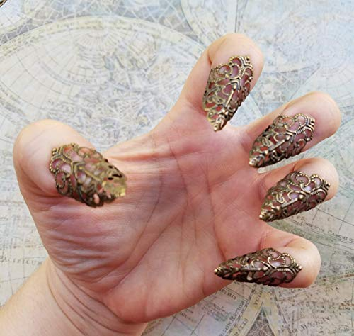 5 Brass Nail Armour Rings, Cosplay Accessories, Short Sharp Nail Claws, Stiletto Nail Rings, Vampire Nails, Costume Nails, Dragon Nails