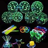 VOZKOM Globos de fiesta luminosos con gafas LED, varillas luminosas, suministros de globos de fiesta para decoraciones navideñas de cumpleaños, decoraciones de fiesta que brillan en la oscuridad