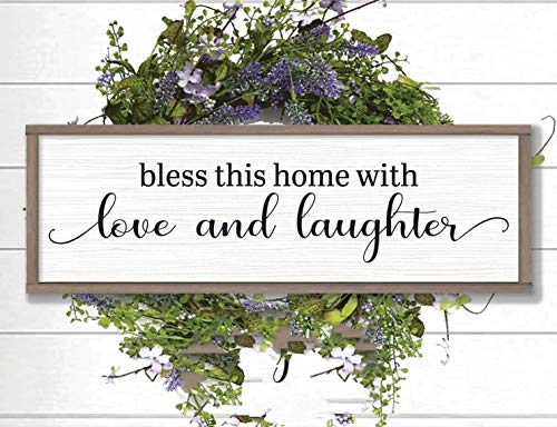 43LenaJon Bless This Home with Love and Laughter Farmhouse Decorative Wooden Signs and Plaques Rustic Home Decor Home Decor Signs Boho Home Decor Gift Decor for Living Room Bedroom