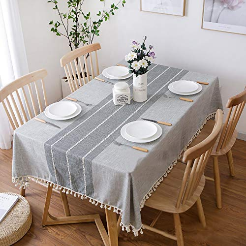 Vonabem Table Cloth Tassel Cotton Linen Table Cover for Kitchen Dinning Wrinkle Free Tablecloths Rectangle/Oblong (58''x86'', 6-8 Seats, Grey Lines)